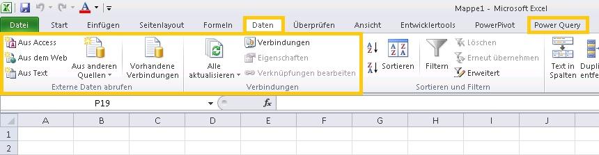 Anbindung Externer Daten In Excel 2019 Vereinheitlichung