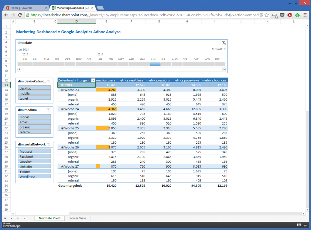 4-3 PivotTable in Office 365